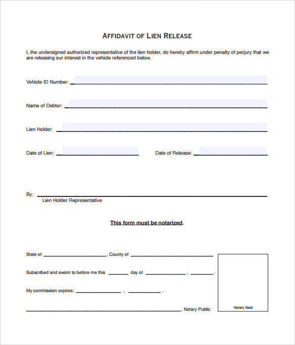 lien release form to print