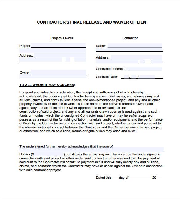 sample lien release form1