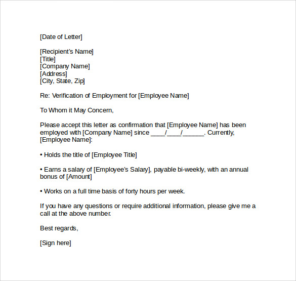 download employment verification letter