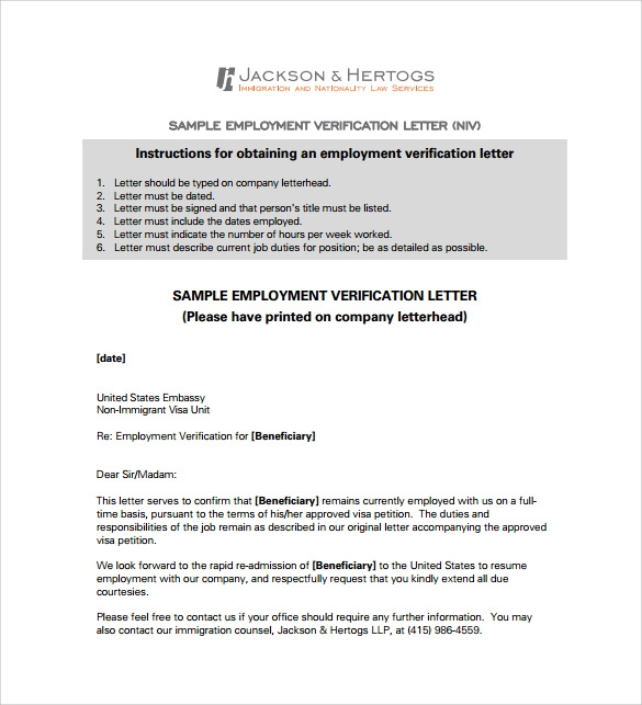 18 employment verification letter templates download for free employment verification letter for visa pdf free download spiritdancerdesigns