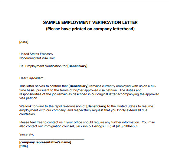 free employment verification letter template