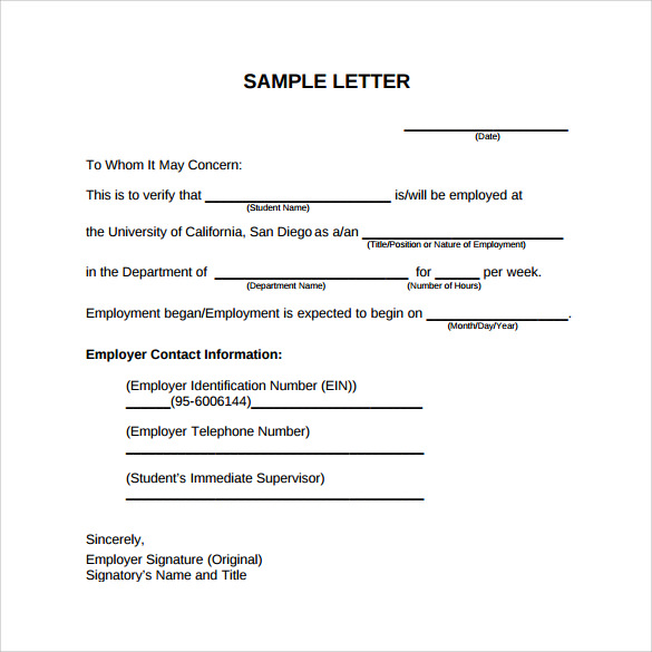 Employment Verification Letter 14 Download Free Documents in – Example Employment Verification Letter
