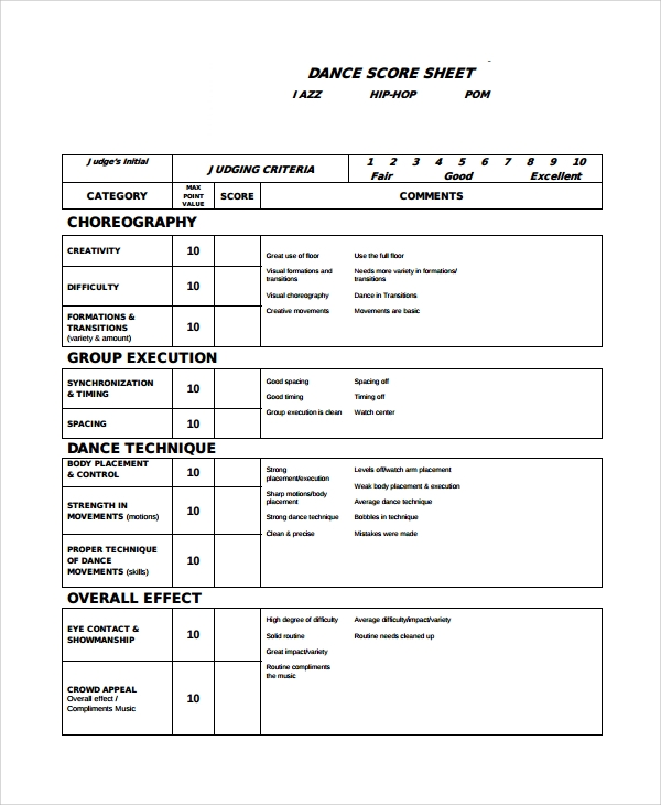 dance scoresheet template