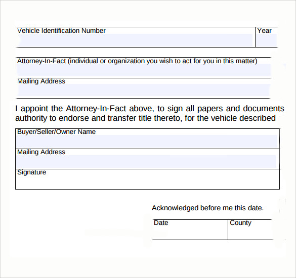Limited Power Attorney Form PDF