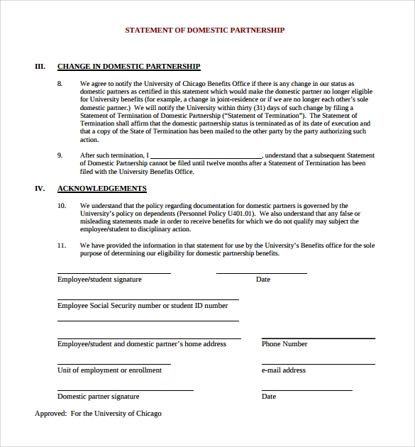 13 domestic partnership agreements to download sample for Corporate partnership agreement template