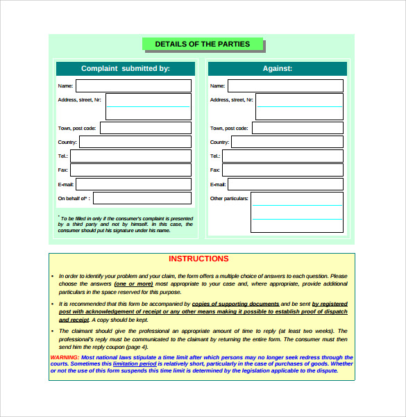 complaint form of consumer in pdf