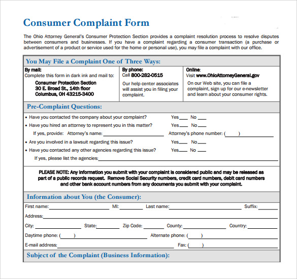 Consumer Complaint Form - 8 + Samples, Examples & Format