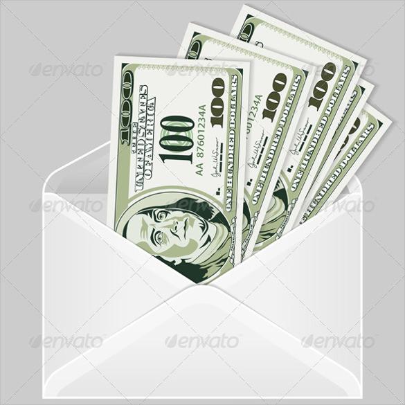 simple money envelope in psd