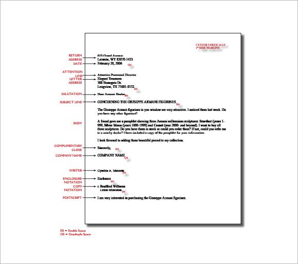 formal letter format spacing