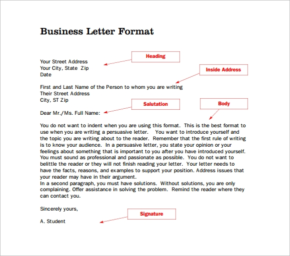 sample professional letter format