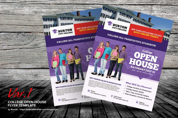 college open house flyer templates