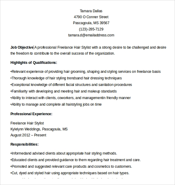 freelance hair stylist resume