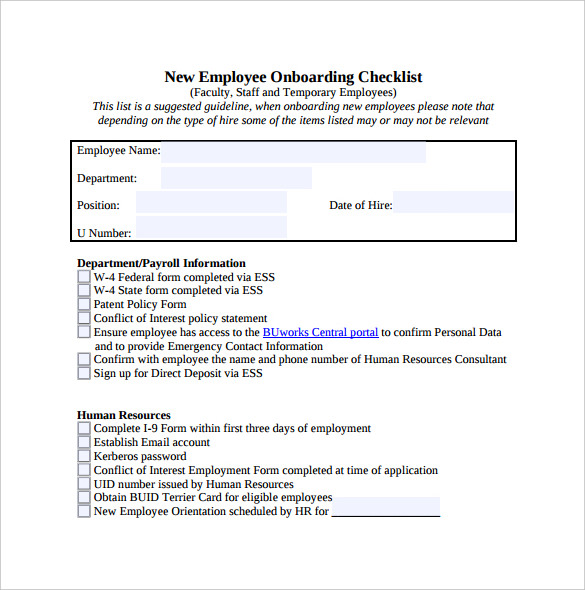 new hire employee checklist template