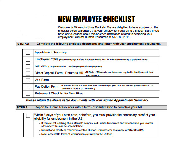 employee or independent contractor checklist template - 13 new hire checklist samples sample templates