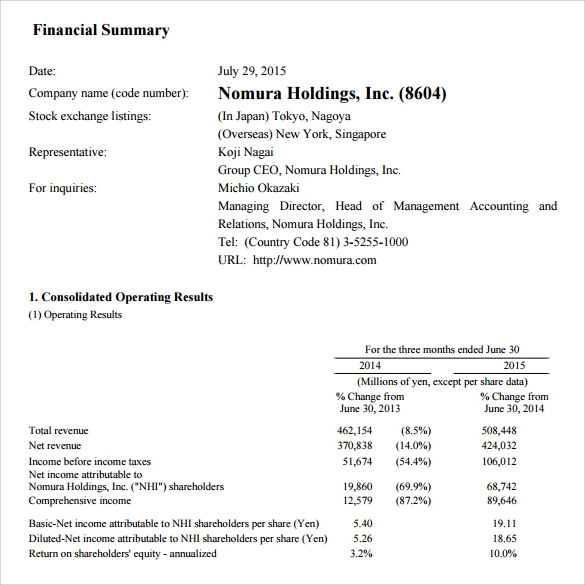 Sample Financial Summary   Documents In Pdf Word