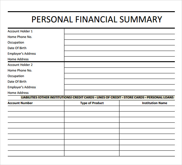 Simple Financial Summary Template