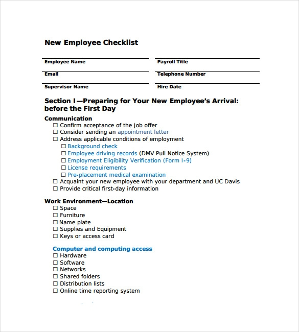 New Hire Checklist Sample - 9+ Documents In Pdf