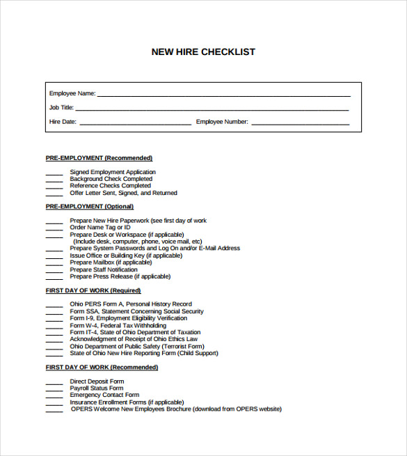New Hire Checklist Template  CityEsporaCo