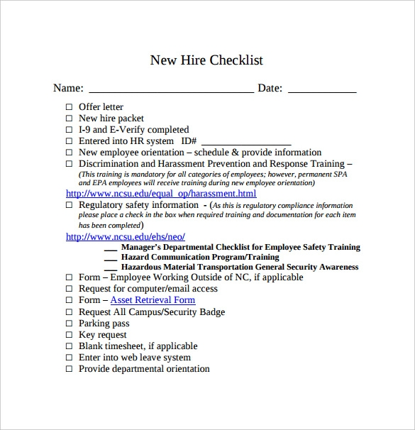 sample new hire checklist template
