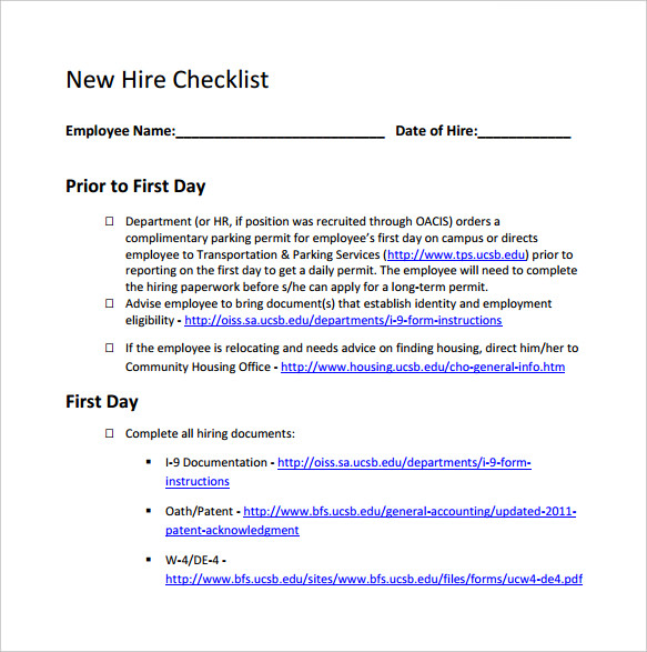 printable new hire employee checklist