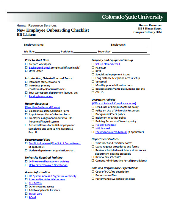 New Employee Checklist Template | New Hire Checklist Sample 13 Documents In Pdf