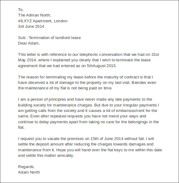 sample of landlord lease termination letter