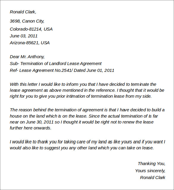 termination of landlord lease agreement - Termination Letter For Tenant From Landlord