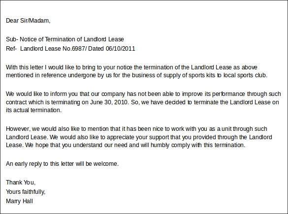 Sample Landlord Lease Termination Letter 4 Documents in Word PDF – Lease Termination Letter