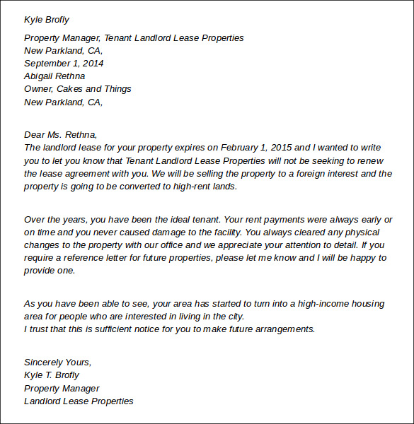 termination letter from landlord to tenant - Notice Of Lease Termination