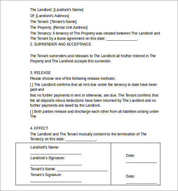 Sample Termination Letters 9 Landlord Lease Termination