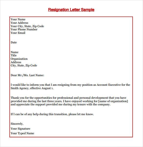 resignation letter format      free samples   examples   formatresignation letter format sample