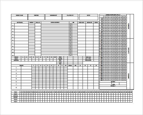 Cricket Score Sheets Excel  Find Word Templates