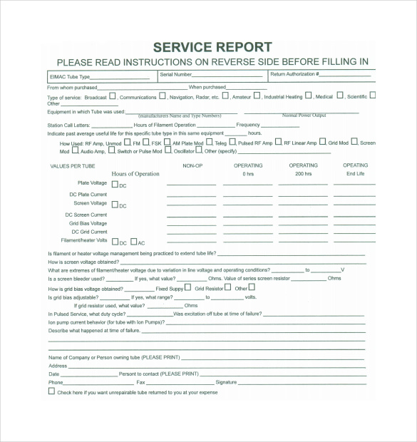Sample Service Report   Documents In Pdf Word