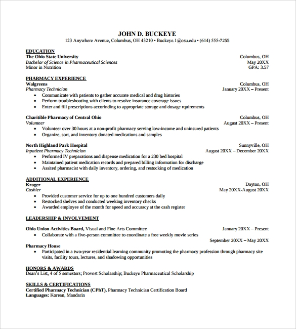 best pharmacy technician resume