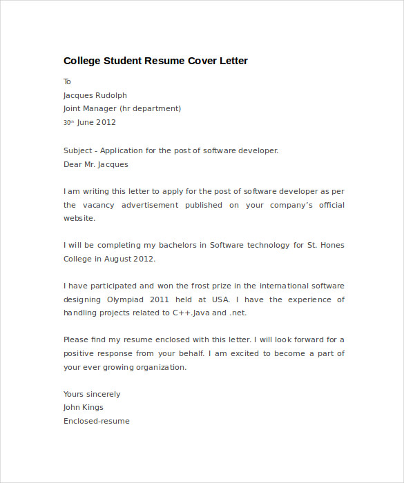 cover letter for resume example for students