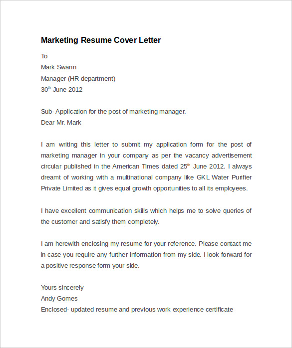 Resume Cover Letter Example - 8+ Download Documents in PDF ...