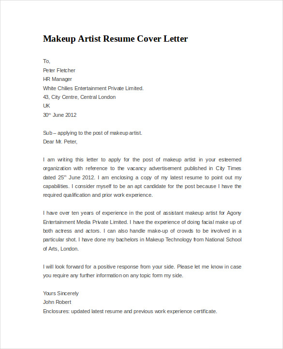 Resume cover letter example 8 download documents in pdf for Cover letter for benefit cosmetics