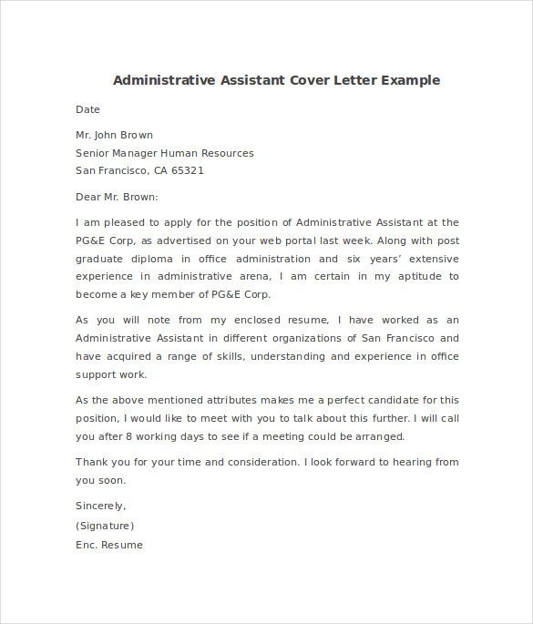 admin assistant cover letter sample executive assistant cover ...