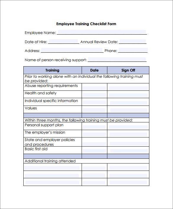 Employee-Training-Checklist-Form Examples Of Employee Coaching Forms on risk management form example, change management form example, project management form example, performance appraisal form example,
