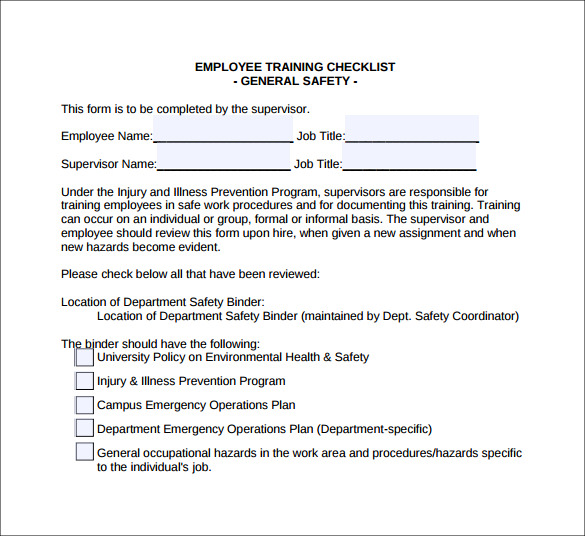 Training Checklist Template 7 Download Documents In Pdf