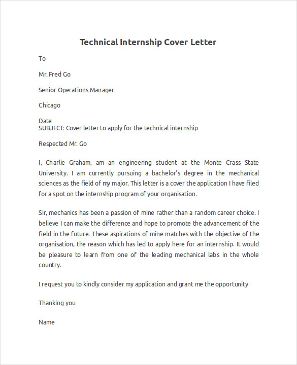 Internship Cover Letter Example   8  Download Documents in Word ROG0CBhL