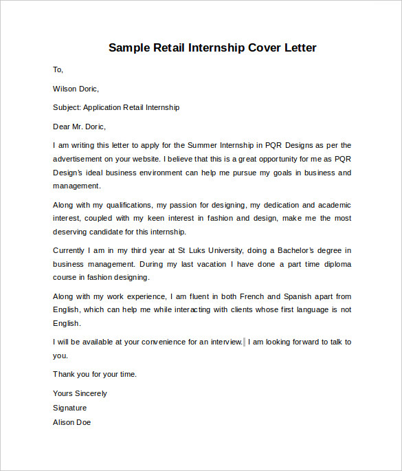 Internship Cover Letter Example   8  Download Documents in Word OX755OFi