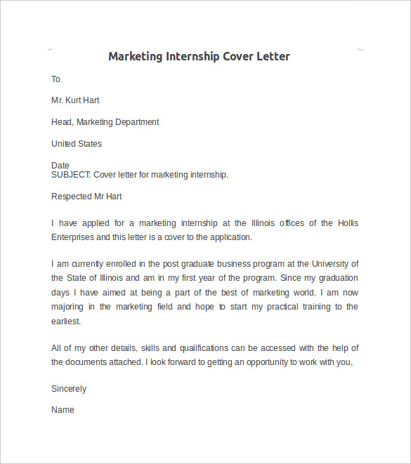 Internship Cover Letter Example   8  Download Documents in Word MF3Hda5e