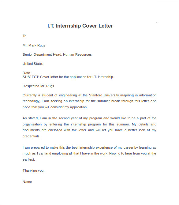 Internship Cover Letter Example   8  Download Documents in Word h7ooAgVi