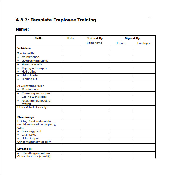 Training Checklist Template  CityEsporaCo
