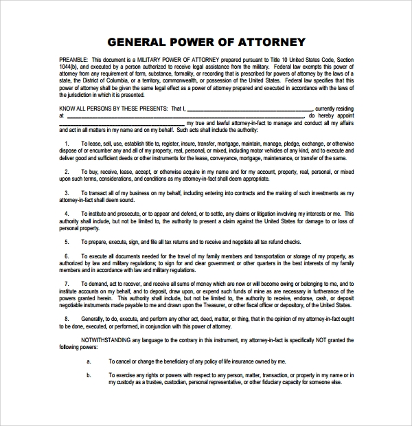 General Power Of Attorney Forms - 6+ Free Samples, Examples & Formats
