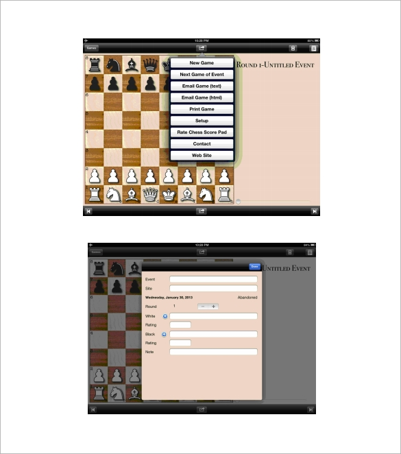 Electronic Chess Score Sheet