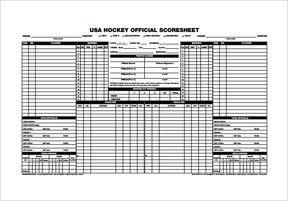 Hockey Score Sheets  Free Sample Example Format