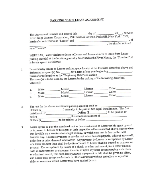 Sample Parking Lease Template   Free Documents Download In