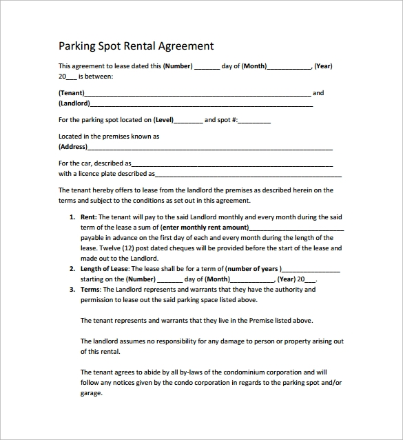 Sample Parking Lease Template 9 Free Documents Download In PDF – Parking Lease Template